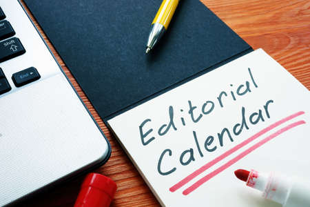 Editorial calendar or publishing schedule for content in the notebook. Stock fotó