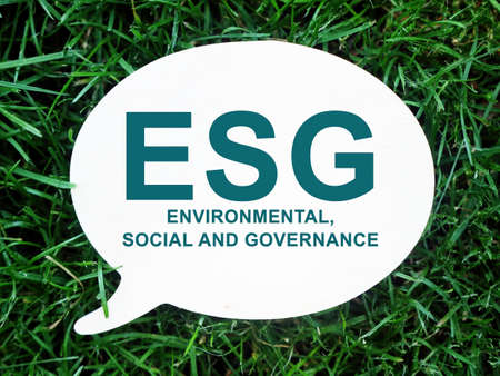 ESG Environmental, Social and Governance sign on the white plate.