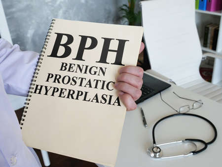 Doctor shows Benign prostatic hyperplasia BPH diagnosis.