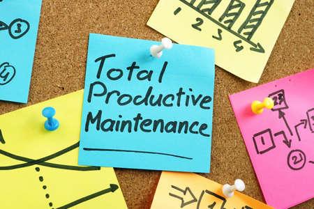 Total productive maintenance TPM on the blue memo stick. Stock Photo