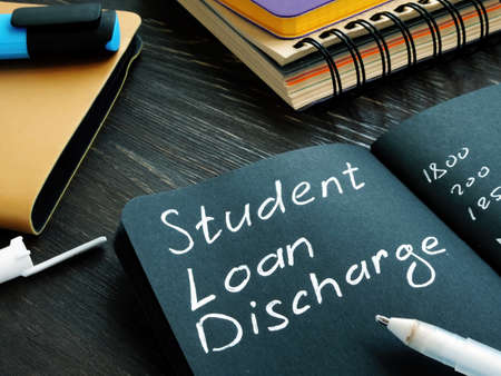 Student loan discharge memo on the black page.