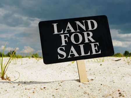 Land for sale. The sign is stuck in the ground.