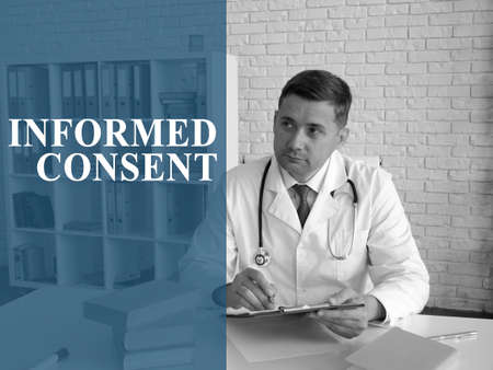 Informed consent concept. The doctor works with papers.