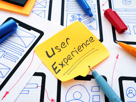 UX user experience inscription and sketches of the mobile application.