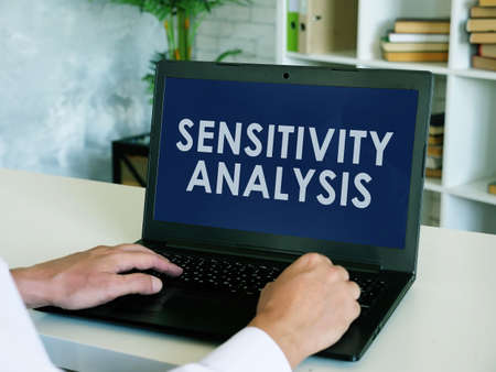 Sensitivity analysis report on the screen of laptop. Imagens