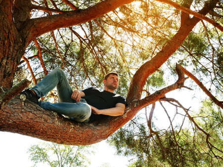 The guy looks around while sitting on a tree in the summer forest. Activities and rest. Imagens