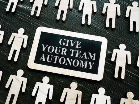 Giving your team autonomy quote and wooden figures.