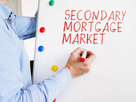 Secondary mortgage market handwritten inscription on whiteboard. Reklamní fotografie