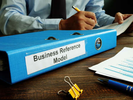 BRM - Business Reference Model papers in the blue folder. Reklamní fotografie