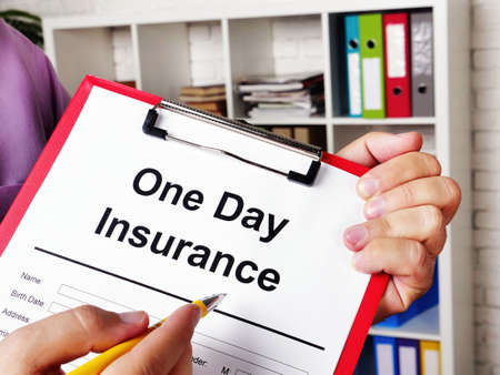 One day insurance for car. The insurer offers to sign the papers.