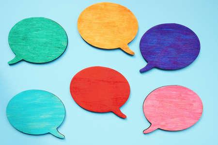 Colorful quote bubbles. Linguistic diversity and multi language concept.