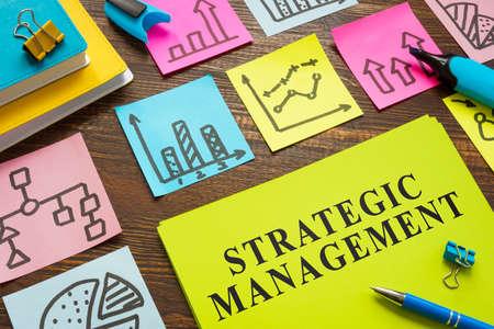 Strategic management plan with color memo sticks.