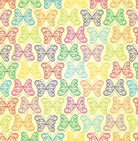 wingspan: A seamless background with color butterflies. Illustration