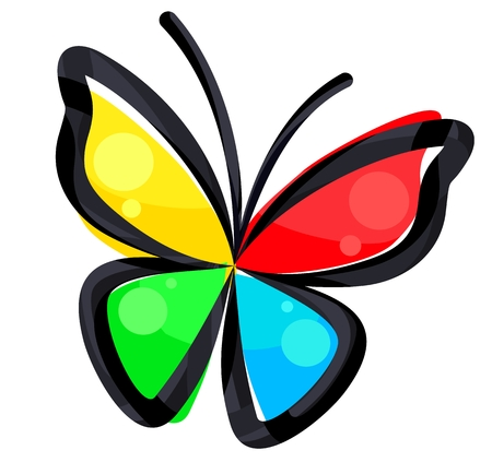 Illustration  of a color abstract butterfly.