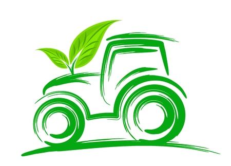 Ilustracja ciągnik z zielonymi liśćmi.