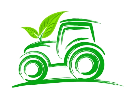 Un'illustrazione trattore con foglie verdi.