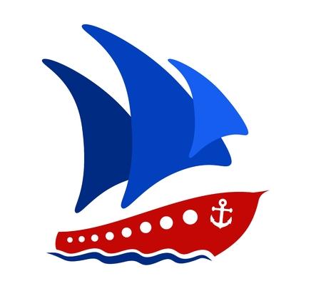 sails: Ship with blue sails.