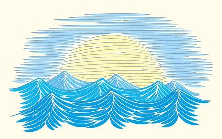 sea landscape: A sea landscape from the sun dawn. Illustration