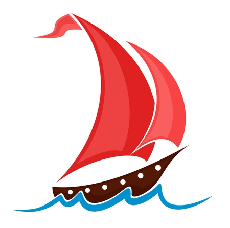 fishing vessel: Boat with red sails. Illustration