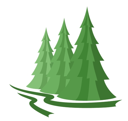 tree symbol: Green wood with pines.