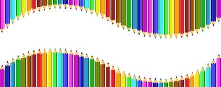 Un cadre de crayons de couleur sous la forme d'une vague. Vecteurs
