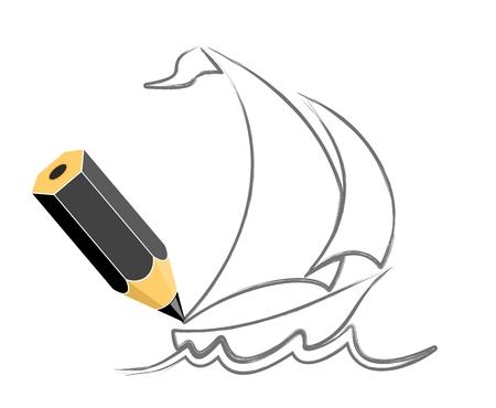 Yacht disegno con vele e un'onda.
