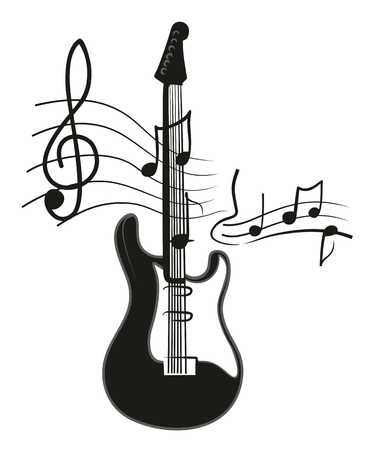 music instruments: Electric guitar with notes.