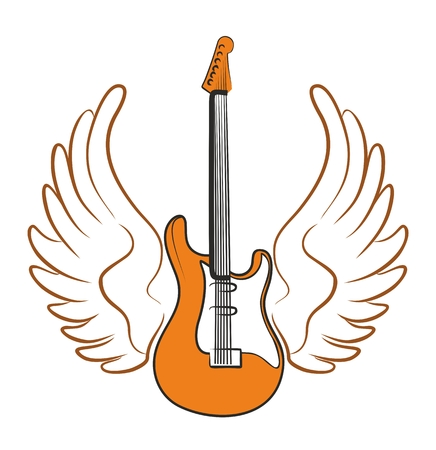 solo: Electric guitar drawing with wings of a bird.