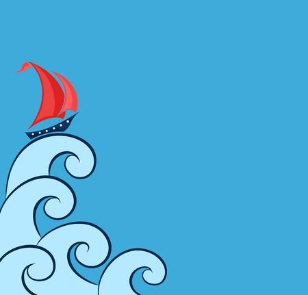 vessel: Sailing vessel in the sea.