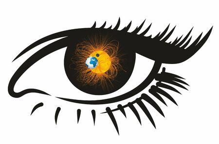 radiacion solar: Abstract eye with solar system.