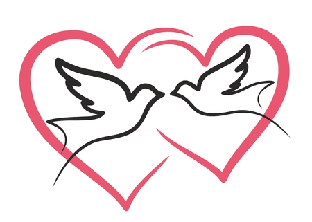 palomas volando: Un par de palomas volando contra el corazón.