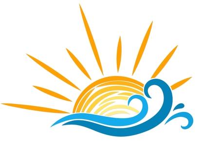 lake sunset: Logo sun and sea.