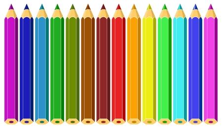 Conjunto de lápices de colores. Ilustración de vector