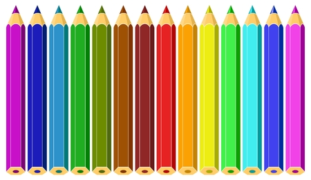Set of colored pencils.