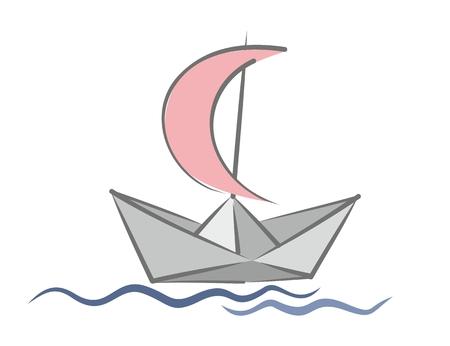 bateau de papier avec une voile. Vecteurs