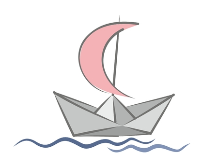 paper boat: Paper boat with a sail.