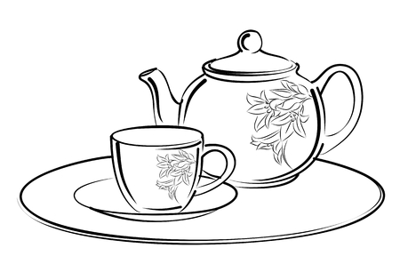 hot couple: Sketch of tea service. Illustration
