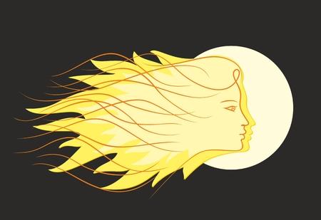 hairdress: Girl sun Logo.