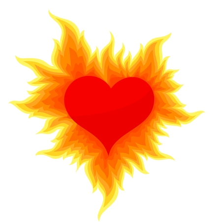 Heart with a bright flame.