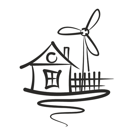 townhouse: A logo of the eco friendly house with the wind generator. Illustration