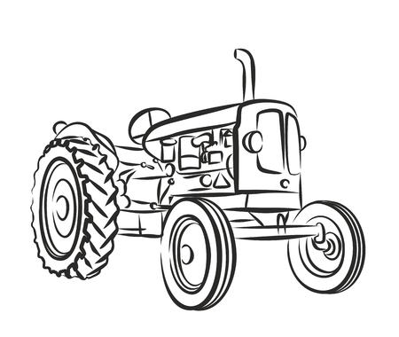 古い農家のトラクターのスケッチ。  イラスト・ベクター素材
