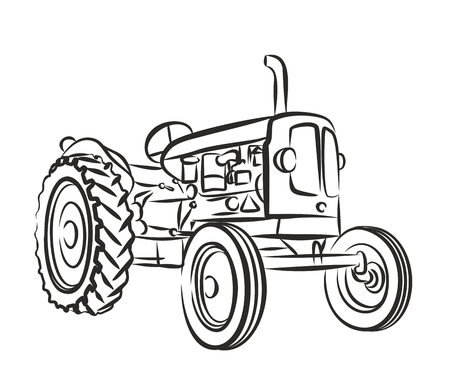 Sketch of an old farmer tractor. Vectores