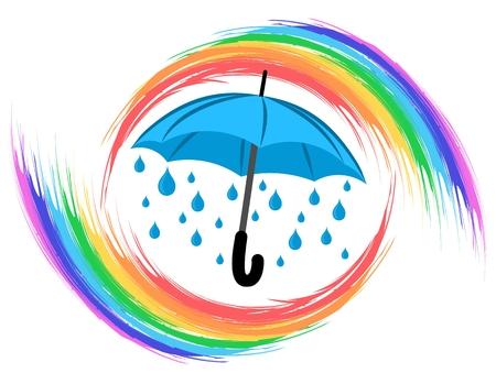 rainbow umbrella: Rainbow with umbrella.