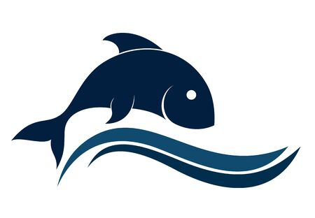 blue fish: logo of blue sea fish with a wave. Illustration