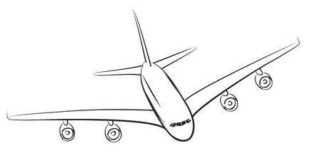 air travel: A sketch of the flying plane.