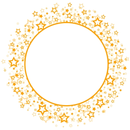 asterisks: round frame with gold stars. Illustration