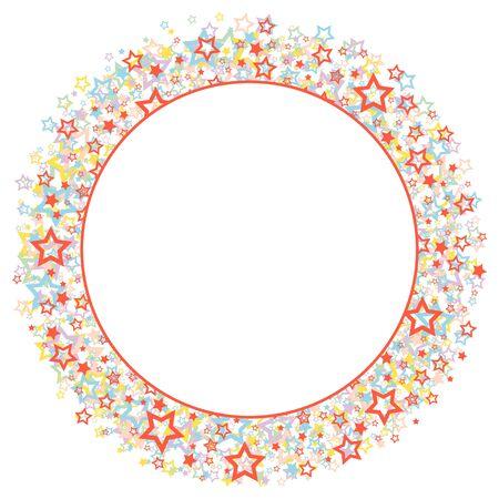 Een ronde frame met kleur sterren.