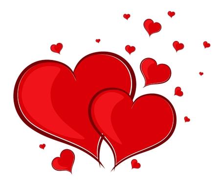 Eine Karte mit zwei roten Herzen.