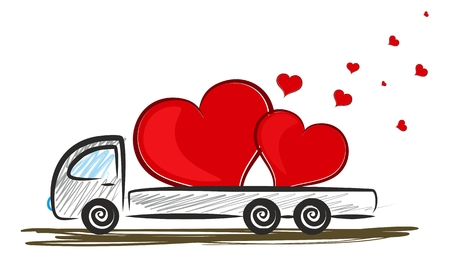 the pair: The truck with pair of red hearts.