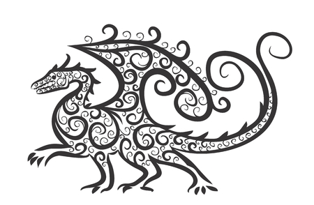 winged: Drawing of winged dragon.
